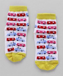 Cute Walk by Babyhug Ankle Length Anti Bacterial Socks - White Yellow