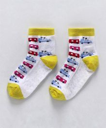 Cute Walk by Babyhug Anti Skid Ankle Length Socks Bus Design - White & Yellow
