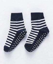 Cute Walk by Babyhug Anti Skid Ankle Length Socks Striped Design - White & Navy