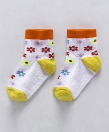 Cute Walk by Babyhug Anti Skid Ankle Length Socks Floral Design - Yellow & White