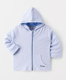 Tiny Bee Striped Jacket With Hood - Blue