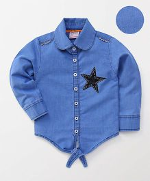 Button Noses Full Sleeves Solid Shirt Star Patch - Blue