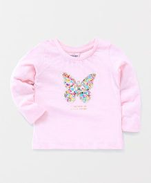 Button Noses Full Sleeves Top Sequin Butterfly Design - Light Pink