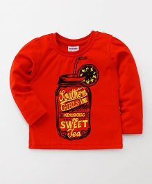 Button Noses Full Sleeves Tee Jar With Text Print - Red