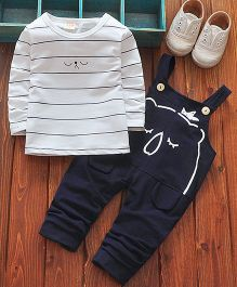 Lil Mantra Sleeping Bear Design Top And Dungaree Set - Navy Blue