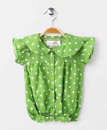 Soul Fairy Printed Top With Tie Up At Waist - Green