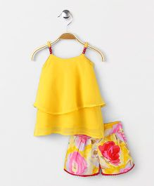 Soul Fairy Georgette Strappy Top With Printed Shorts - Yellow