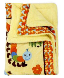 Baby Blanket Caterpillar Print - Yellow