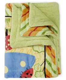 Baby Blanket Animals Print - Green