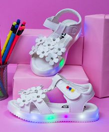 Little Maira Floral Led Sandals - White