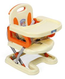 Foldable Baby Booster Seat - Cream & Orange