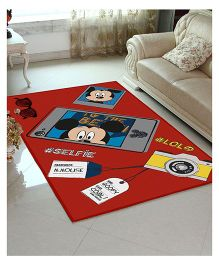 Disney Athom Trendz Mickey Mouse Polyester Carpet - Red