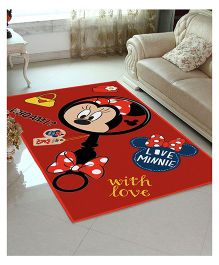 Disney Athom Trendz Minnie Mouse Polyester Carpet - Red
