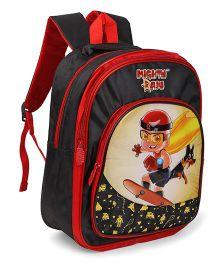 Mighty Raju School Bag Black Red - 14 Inches