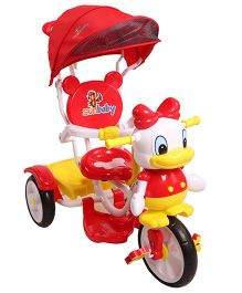 Sunbaby Musical Tricycle With Canopy - Red Yellow