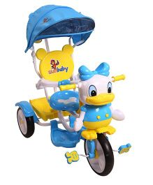 Sunbaby Musical Tricycle With Canopy - Blue Yellow