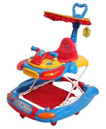 Sunbaby Musical Walker Cum Rocker With Push Handle - Red Blue