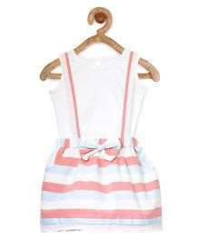 StyleStone Striped Dungaree Style Pinafore Dress With Inner Top - Peach & Blue