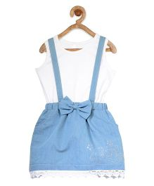 StyleStone Embellished Denim Dungaree Style Pinafore Dress With Inner Top - Light Blue