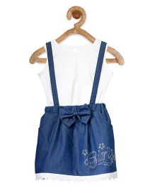 StyleStone Embellished Denim Dungaree Style Pinafore Dress With Inner Top - Dark Blue