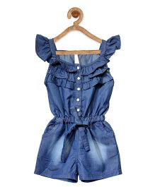 StyleStone Denim Ruffled Design Jumpsuit - Blue