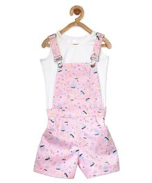 StyleStone Boat Printed Dungaree With Inner Top - Pink