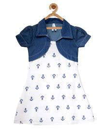 StyleStone Anchor Printed Dress With Attached Denim Shrug - White & Blue