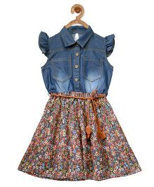 StyleStone Floral Printed Denim Dress With Belt - Multicolour