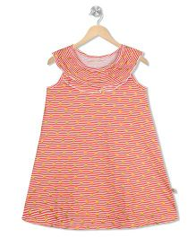 Raine And Jaine Striped Dress With Glitter Dots - Red