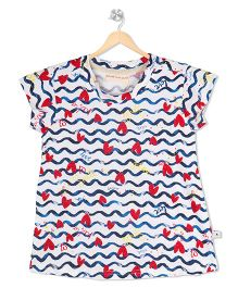 Raine And Jaine Waves & Heart Print Top - White & Blue