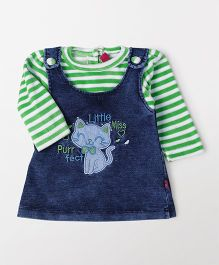Wow Girl Denim Frock With Inner Tee - Blue & Green
