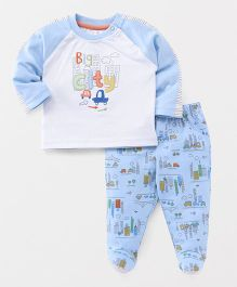 ToffyHouse Full Sleeves T-Shirt & Bootie Leggings Big City Patch - Blue