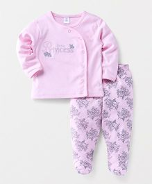 ToffyHouse Full Sleeves T-Shirt & Bootie Leggings Princess Patch - Light Pink