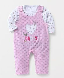 ToffyHouse Dungaree Style Romper With Top I Love Daddy Patch - Light Pink
