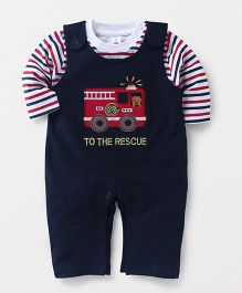 ToffyHouse Dungaree Style Romper With Tee Vehicle Patch - Navy Blue