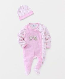 ToffyHouse Full Sleeves Sleepsuit With Cap Bird Print - Pink