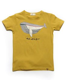 MilkTeeth Whale Print Sea Breeze Tee - Mustard
