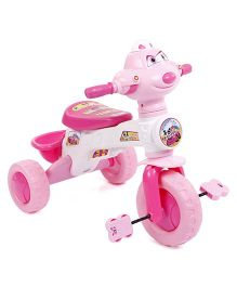 Musical Tricycle With Rear Basket - Pink & White