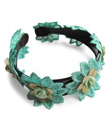 Milonee Lace Double Layered Flower Hairband - Sea Green