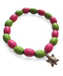 Milonee Wooden Beads Bracelet With Turtle Charm - Pink & Green