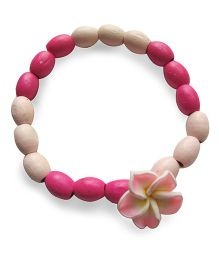 Milonee Wooden Bead Bracelet With Flower - Dark Pink & Light Pink