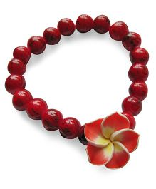 Milonee Gradient Beads Bracelet With Flower - Red