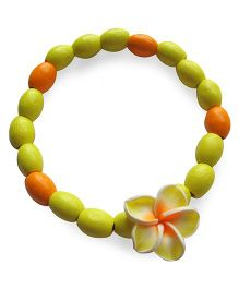 Milonee Wooden Beads Bracelet With Flower - Yellow & Orange