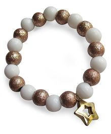 Milonee Antique Glitter Beads Bracelet With Star Charm - White & Copper