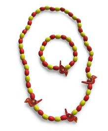Milonee Beads And Birds Neckpiece And Bracelet Set - Red & Yellow