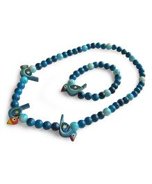 Milonee Beads And Birds Neckpiece And Bracelet Set - Light Blue & Dark Blue