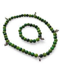 Milonee Gradient Beads Bracelet And Neckpiece Set - Dark Green & Light Green