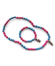 Milonee Beads Bracelet & Neckpiece Set With Teddy Charm - Pink & Blue