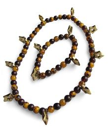 Milonee Beads Bracelet & Neckpiece Set With Star Charm - Brown & Yellow