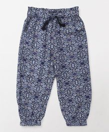 Highflier Printed Harem Pant With Elasticated Waist - Blue